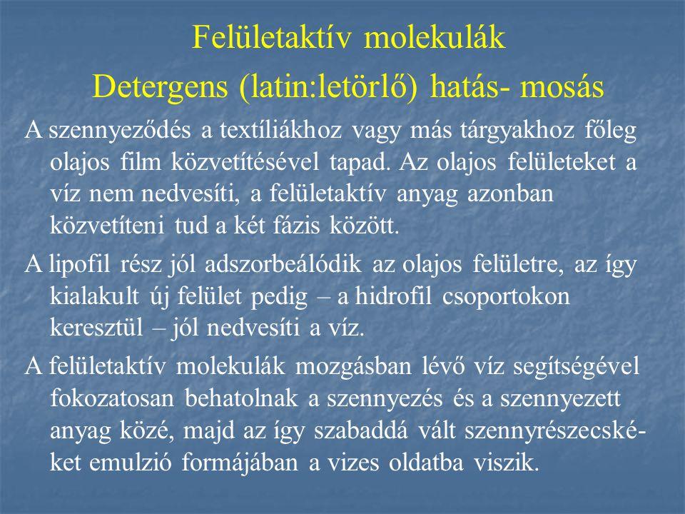 Felületaktív molekulák Detergens (latin:letörlő) hatás- mosás