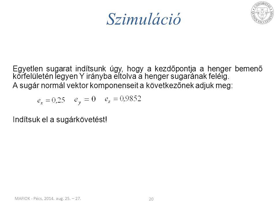 Szimuláció Egyetlen sugarat indítsunk úgy, hogy a kezdőpontja a henger bemenő körfelületén legyen Y irányba eltolva a henger sugarának feléig.