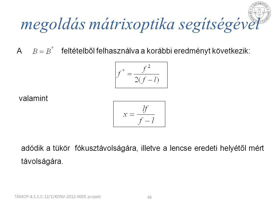 megoldás mátrixoptika segítségével