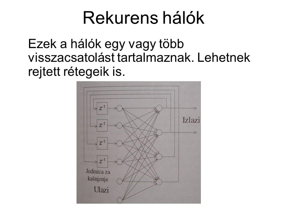 Rekurens hálók Ezek a hálók egy vagy több visszacsatolást tartalmaznak.