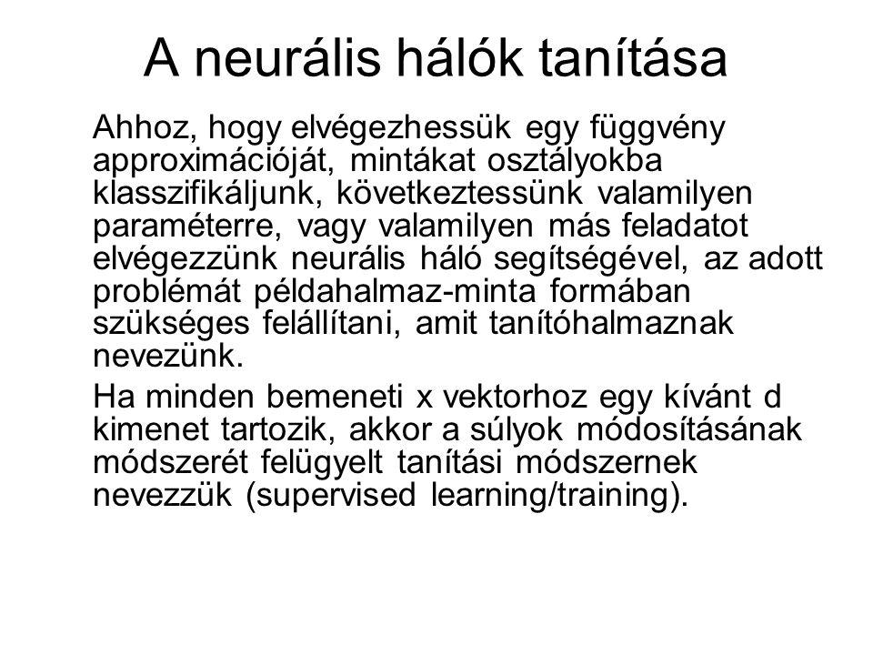 A neurális hálók tanítása