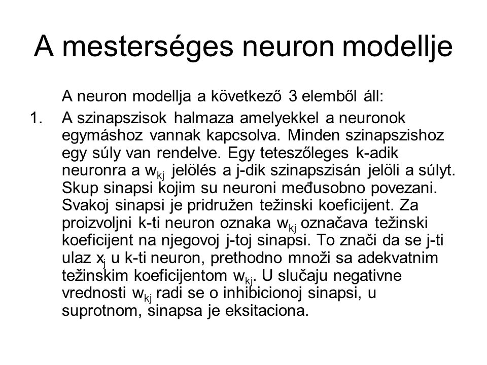 A mesterséges neuron modellje