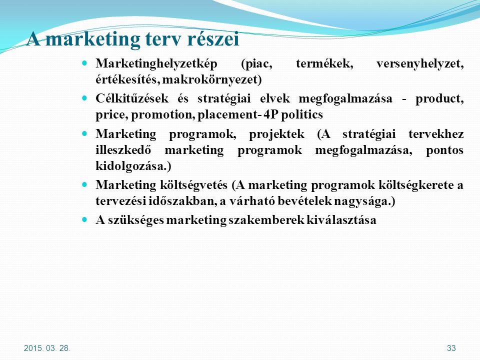 A marketing terv részei