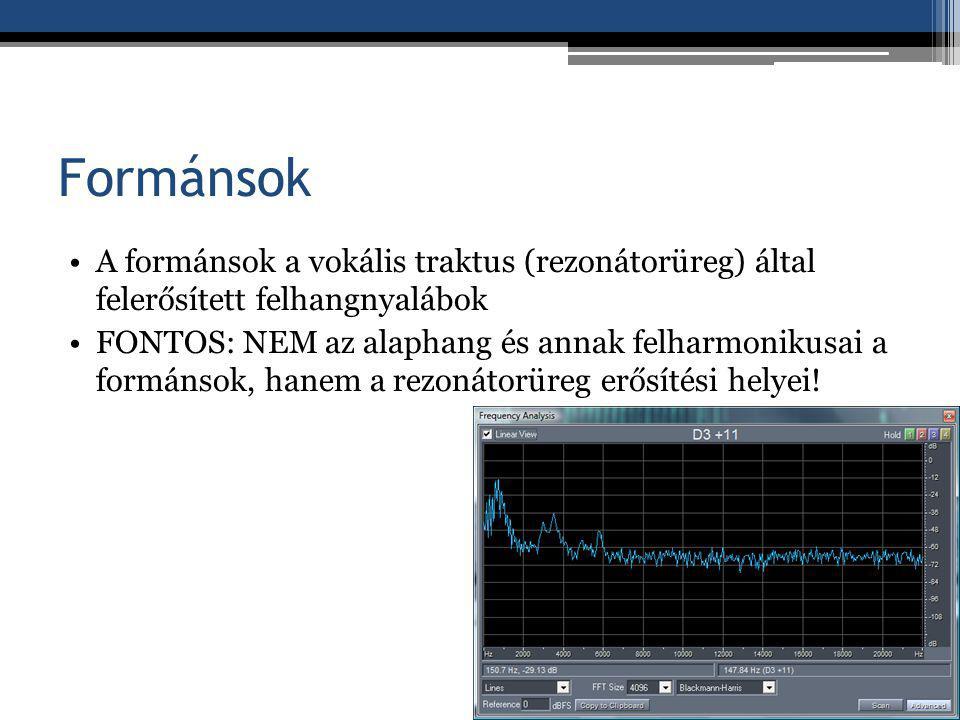 Formánsok A formánsok a vokális traktus (rezonátorüreg) által felerősített felhangnyalábok.