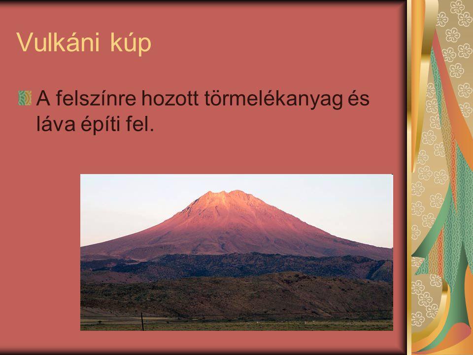 Vulkáni kúp A felszínre hozott törmelékanyag és láva építi fel.