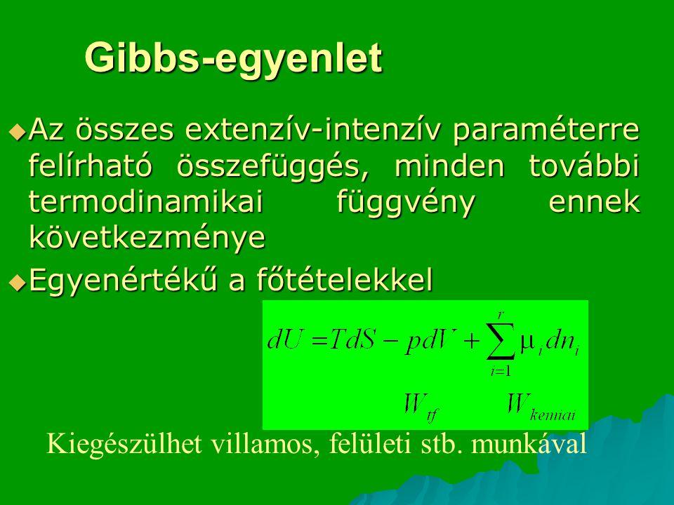 Gibbs-egyenlet Az összes extenzív-intenzív paraméterre felírható összefüggés, minden további termodinamikai függvény ennek következménye.