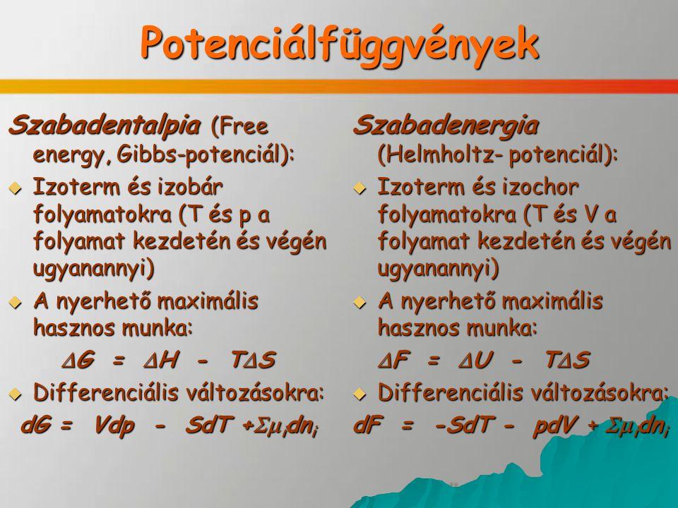 Potenciálfüggvények Szabadentalpia (Free energy, Gibbs-potenciál):