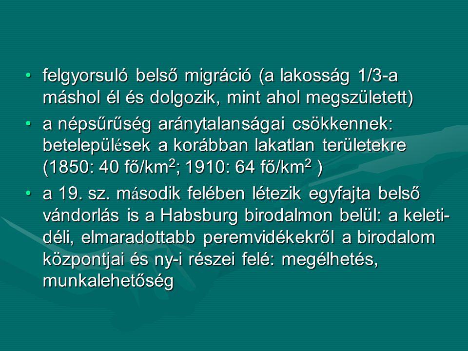 felgyorsuló belső migráció (a lakosság 1/3-a máshol él és dolgozik, mint ahol megszületett)