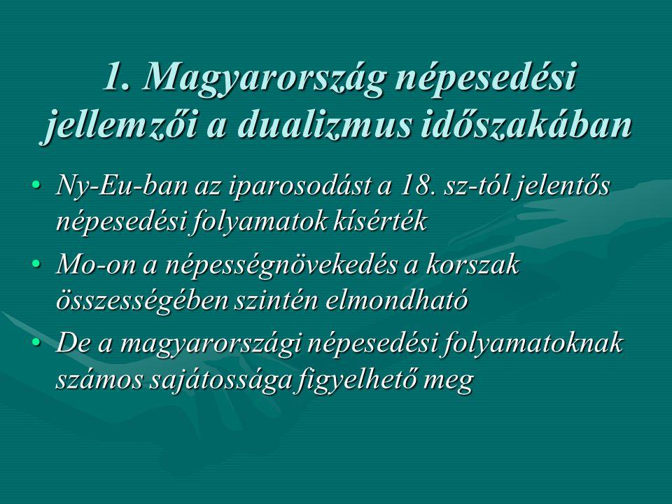 1. Magyarország népesedési jellemzői a dualizmus időszakában
