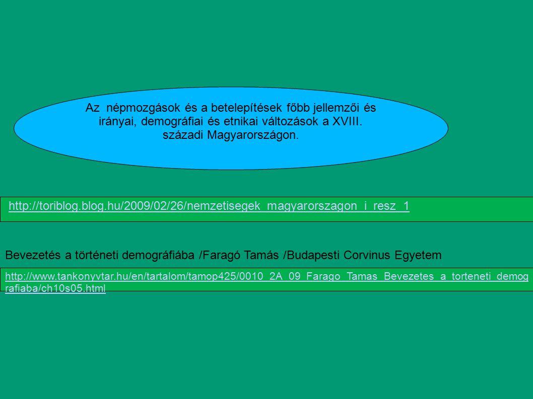 Az népmozgások és a betelepítések főbb jellemzői és irányai, demográfiai és etnikai változások a XVIII. századi Magyarországon.