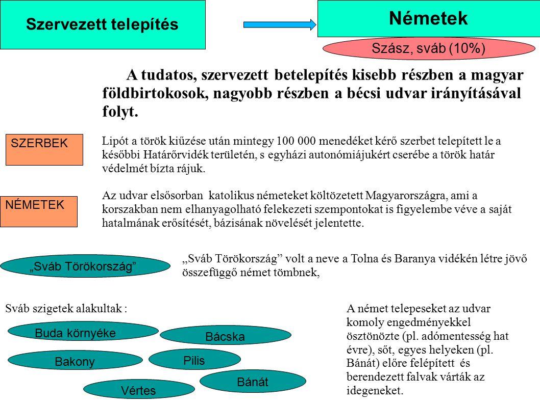 Németek Szervezett telepítés Szász, sváb (10%)
