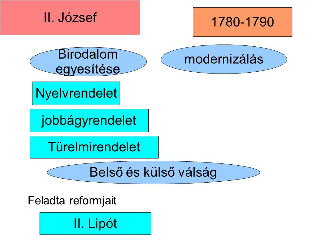II. József 1780-1790 Birodalom egyesítése modernizálás Nyelvrendelet