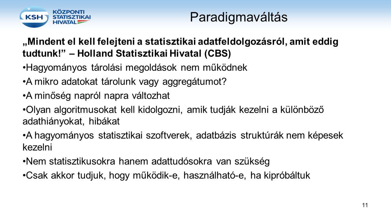 """Paradigmaváltás """"Mindent el kell felejteni a statisztikai adatfeldolgozásról, amit eddig tudtunk! – Holland Statisztikai Hivatal (CBS)"""