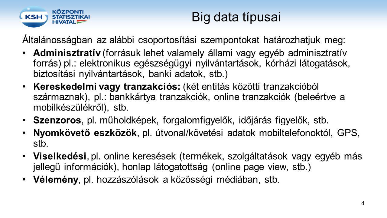 Big data típusai Általánosságban az alábbi csoportosítási szempontokat határozhatjuk meg: