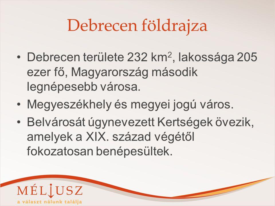 Debrecen földrajza Debrecen területe 232 km2, lakossága 205 ezer fő, Magyarország második legnépesebb városa.