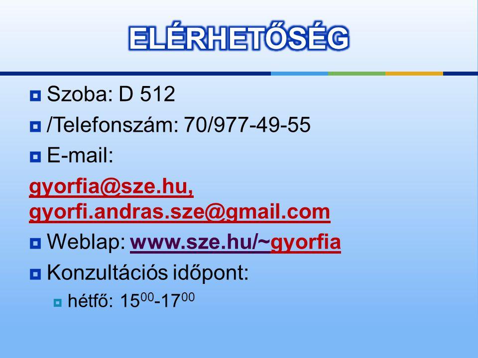 ELÉRHETŐSÉG Szoba: D 512 /Telefonszám: 70/977-49-55 E-mail: