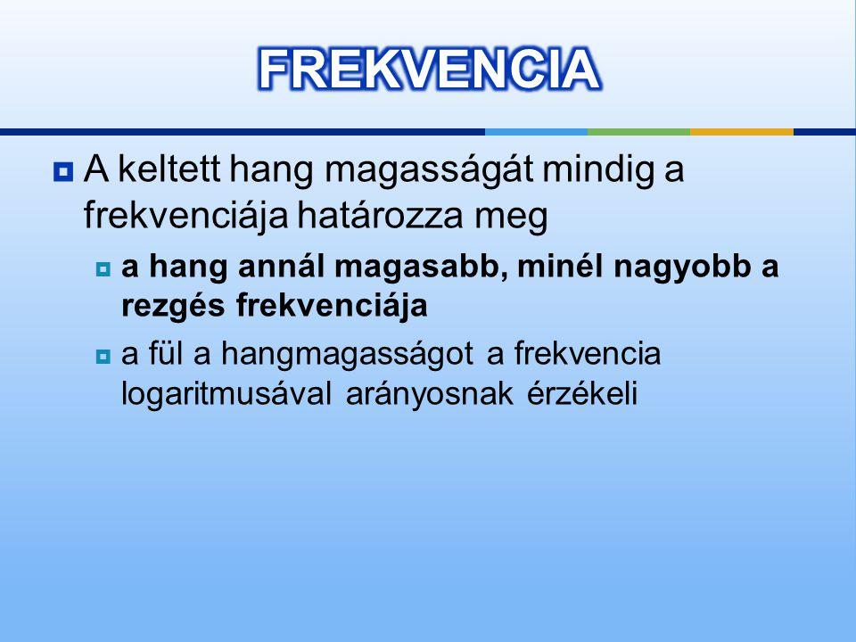 FREKVENCIA A keltett hang magasságát mindig a frekvenciája határozza meg. a hang annál magasabb, minél nagyobb a rezgés frekvenciája.