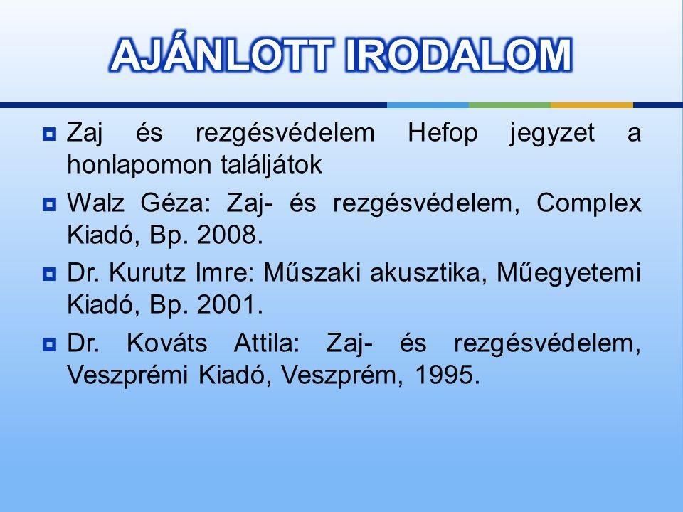 AJÁNLOTT IRODALOM Zaj és rezgésvédelem Hefop jegyzet a honlapomon találjátok. Walz Géza: Zaj- és rezgésvédelem, Complex Kiadó, Bp. 2008.