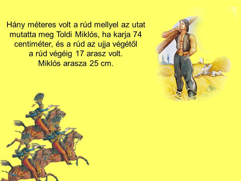 Hány méteres volt a rúd mellyel az utat mutatta meg Toldi Miklós, ha karja 74 centiméter, és a rúd az ujja végétől