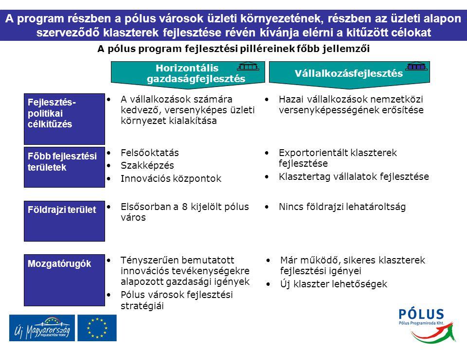 A pólus program fejlesztési pilléreinek főbb jellemzői