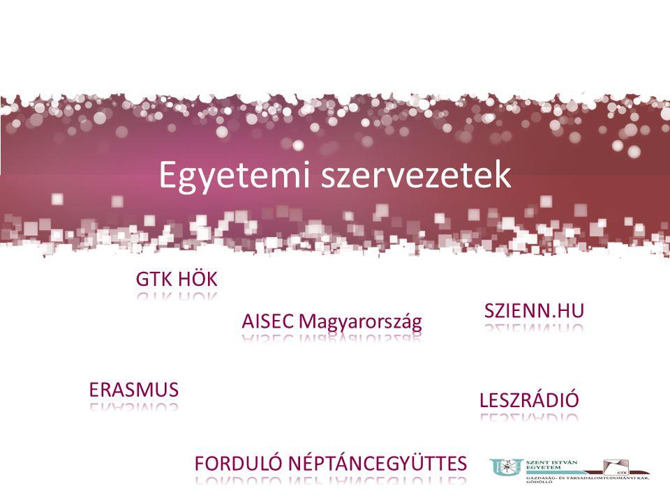 Egyetemi szervezetek GTK HÖK SZIENN.HU AISEC Magyarország ERASMUS
