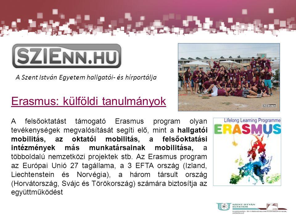 Erasmus: külföldi tanulmányok