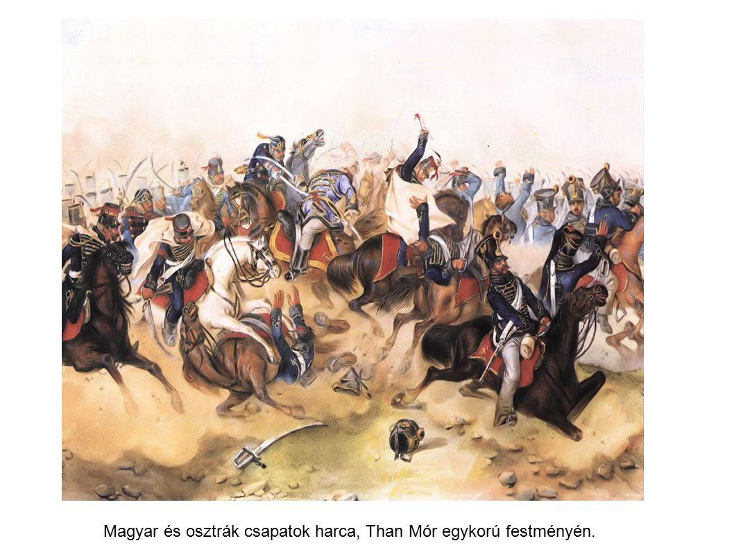 Magyar és osztrák csapatok harca, Than Mór egykorú festményén.