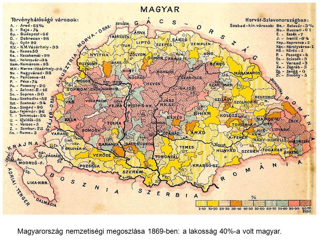 Magyarország nemzetiségi megoszlása 1869-ben: a lakosság 40%-a volt magyar.