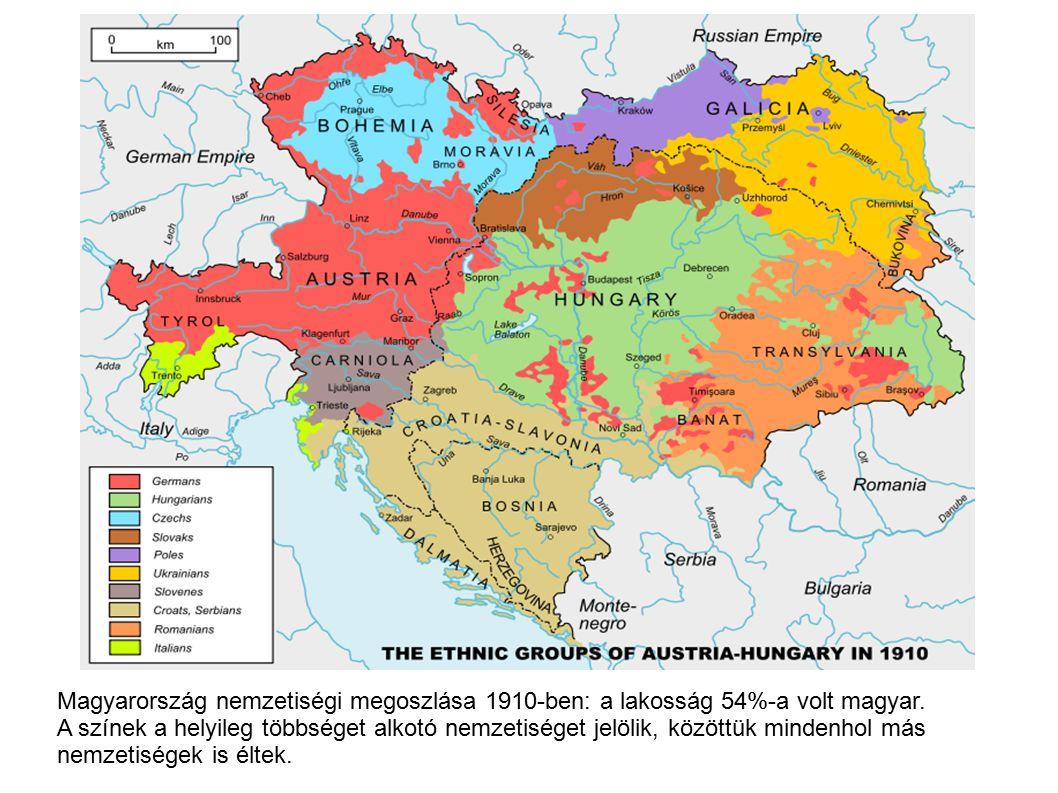 Magyarország nemzetiségi megoszlása 1910-ben: a lakosság 54%-a volt magyar.