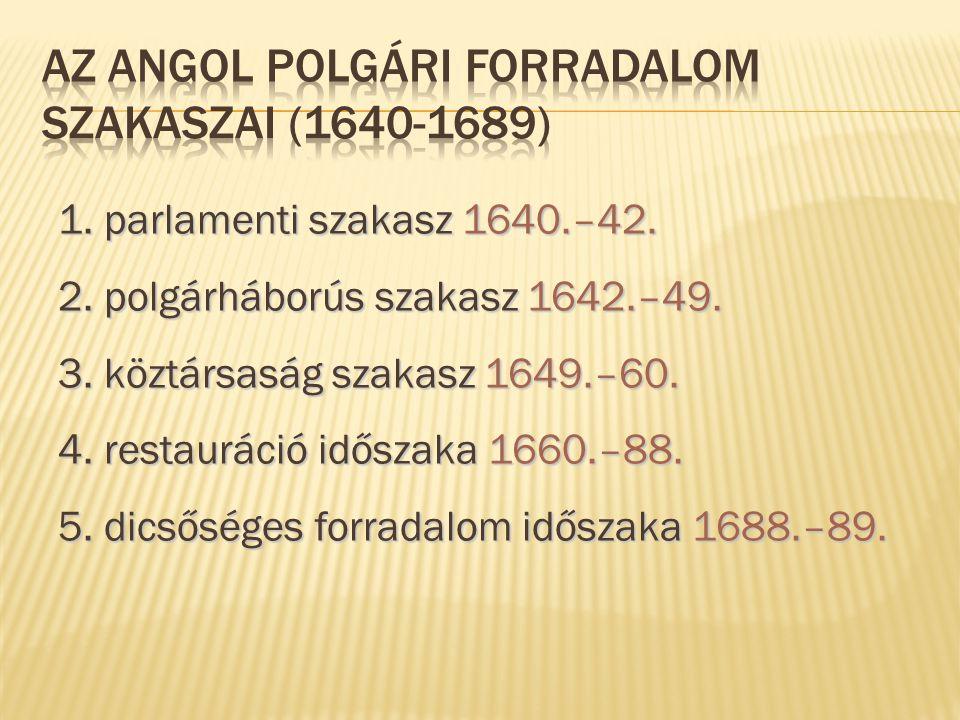 Az angol polgári forradalom szakaszai (1640-1689)