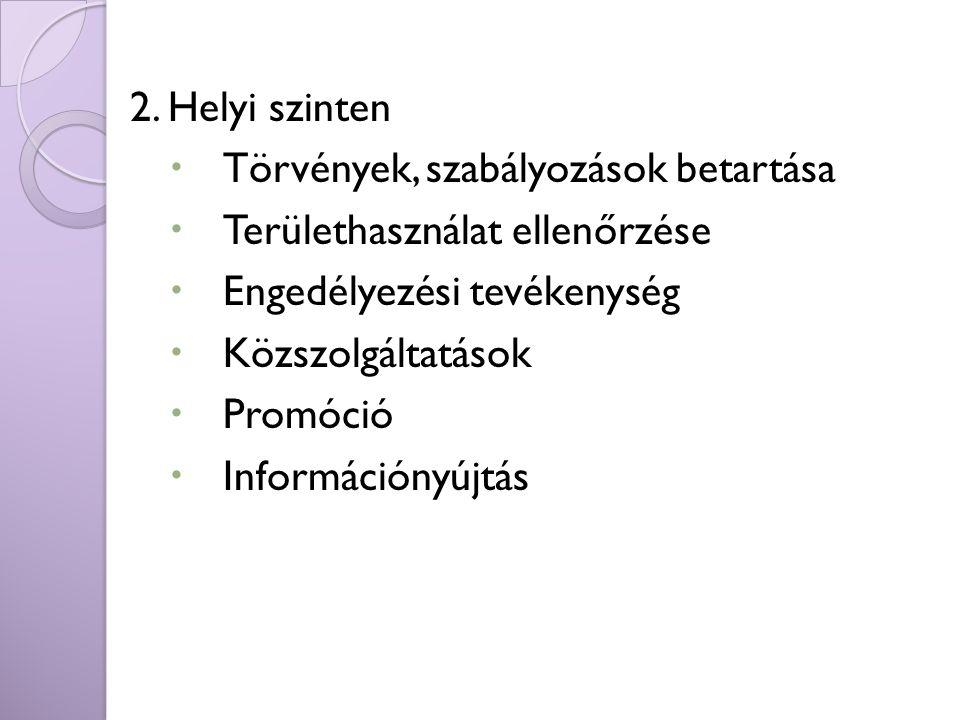 2. Helyi szinten Törvények, szabályozások betartása. Területhasználat ellenőrzése. Engedélyezési tevékenység.
