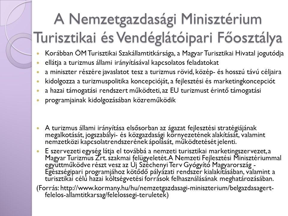 A Nemzetgazdasági Minisztérium Turisztikai és Vendéglátóipari Főosztálya