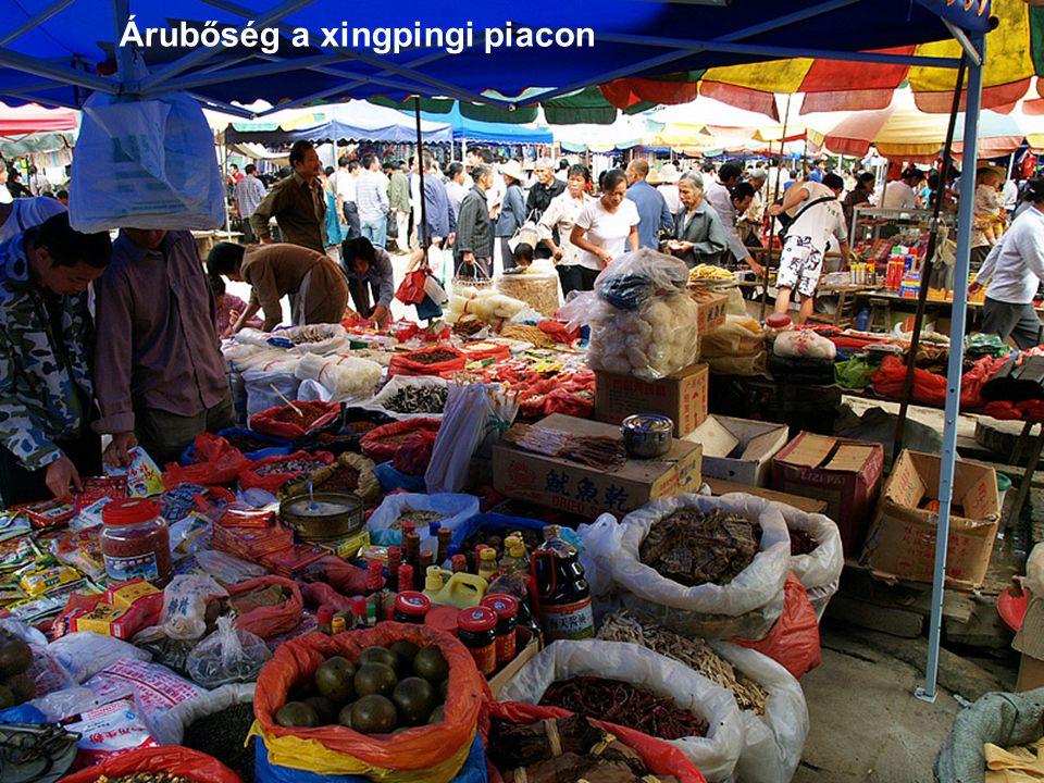 Árubőség a xingpingi piacon