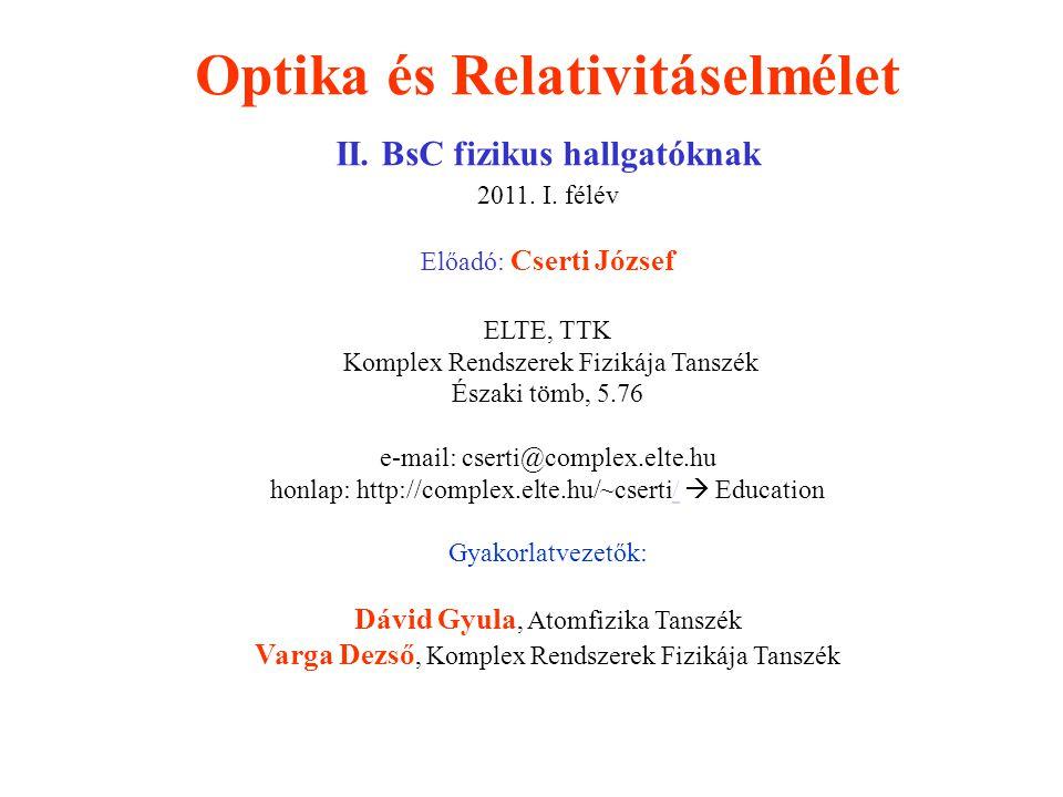 Optika és Relativitáselmélet II. BsC fizikus hallgatóknak