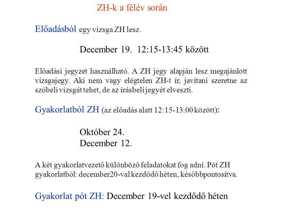Előadásból egy vizsga ZH lesz. December 19. 12:15-13:45 között