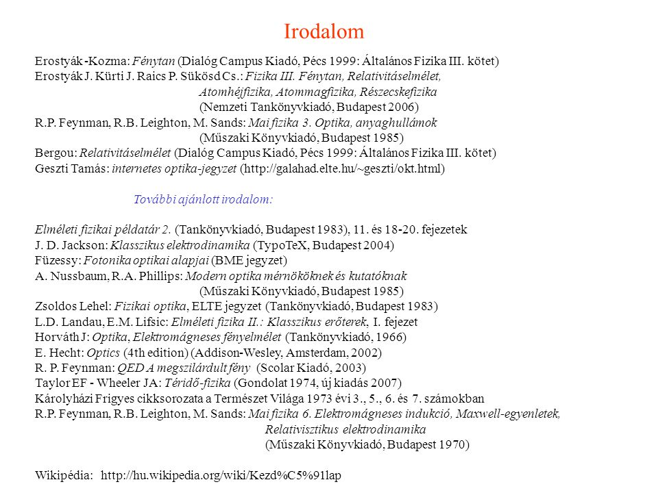 Irodalom Erostyák -Kozma: Fénytan (Dialóg Campus Kiadó, Pécs 1999: Általános Fizika III. kötet)