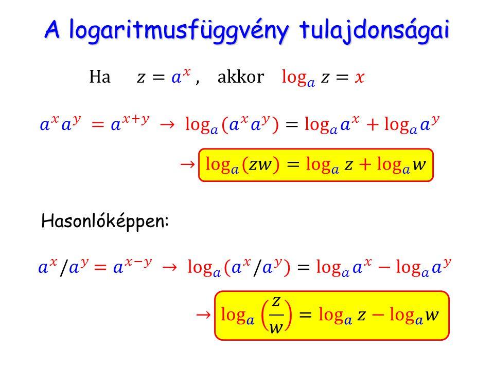 A logaritmusfüggvény tulajdonságai