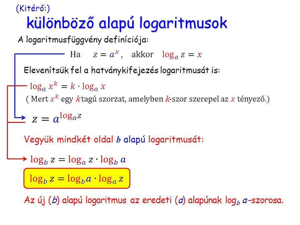 (Kitérő:) különböző alapú logaritmusok