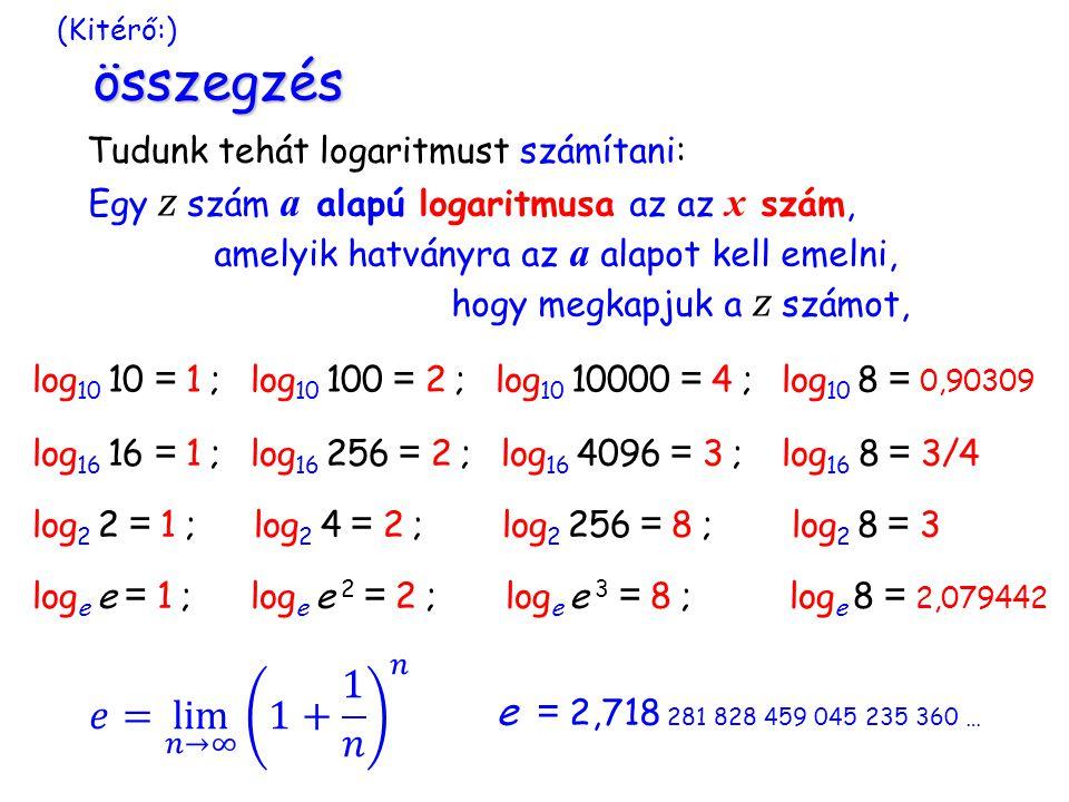 (Kitérő:) összegzés Tudunk tehát logaritmust számítani: