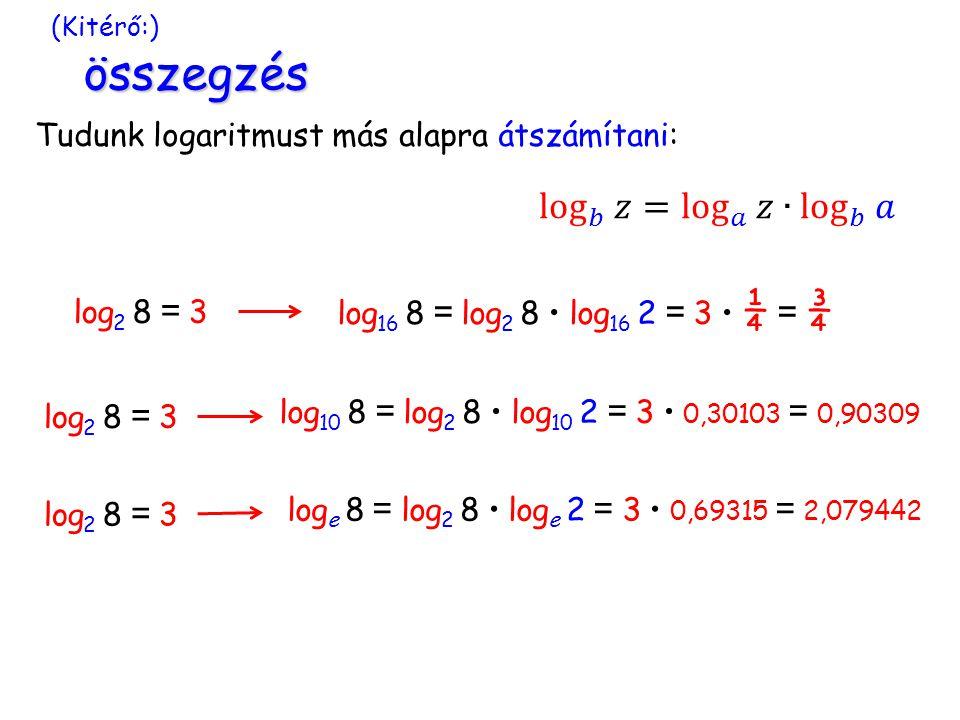log 𝑏 𝑧= log 𝑎 𝑧∙ log 𝑏 𝑎 Tudunk logaritmust más alapra átszámítani: