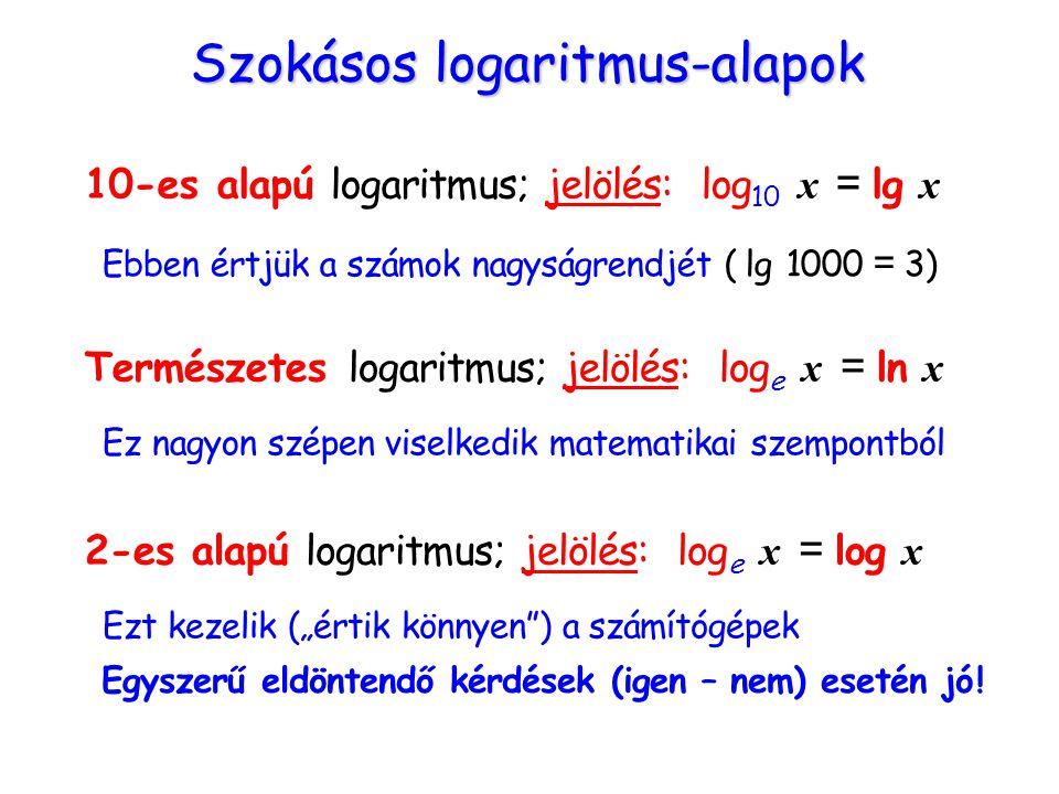 Szokásos logaritmus-alapok