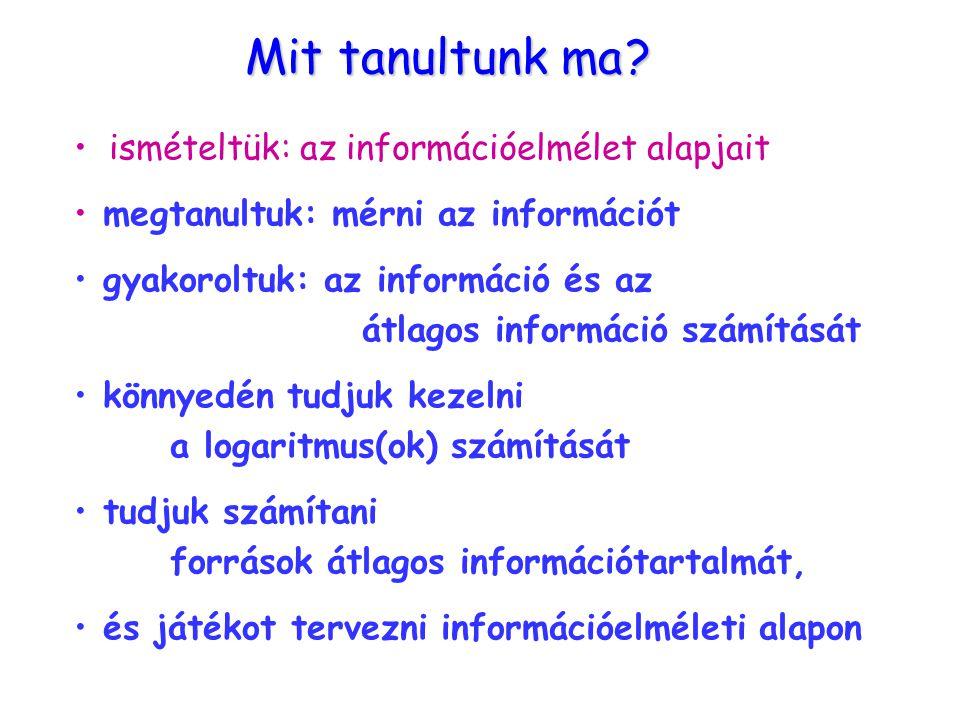 Mit tanultunk ma ismételtük: az információelmélet alapjait