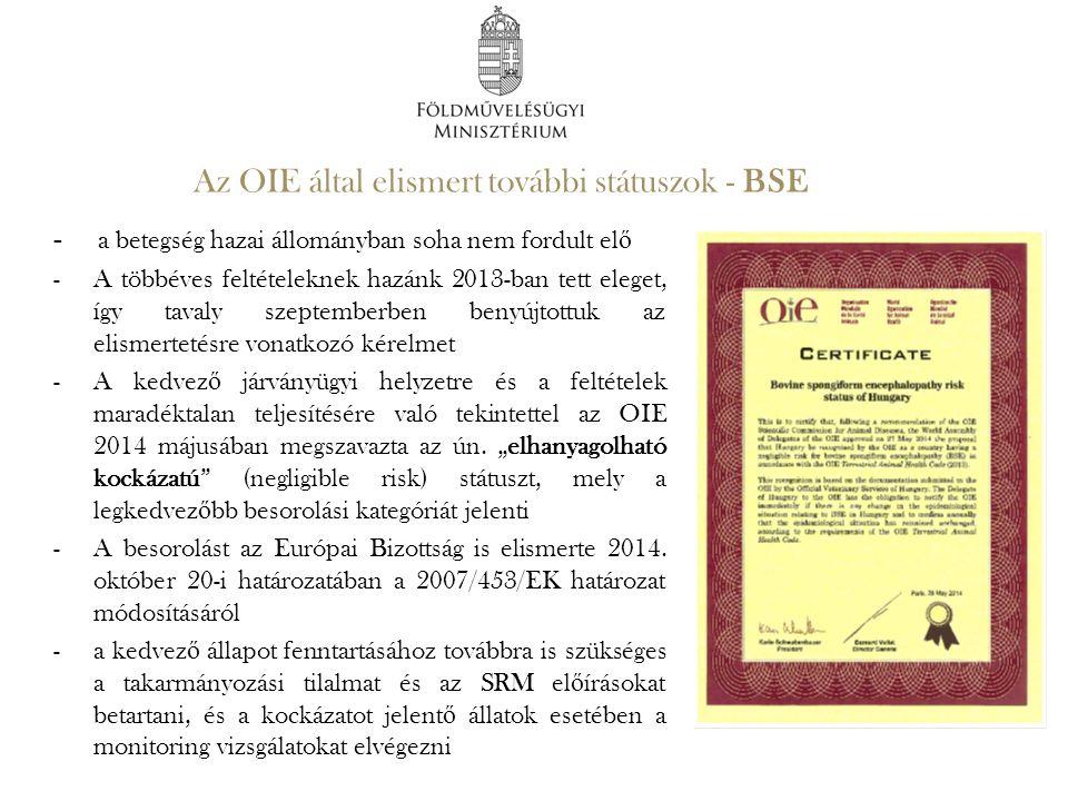 Az OIE által elismert további státuszok - BSE