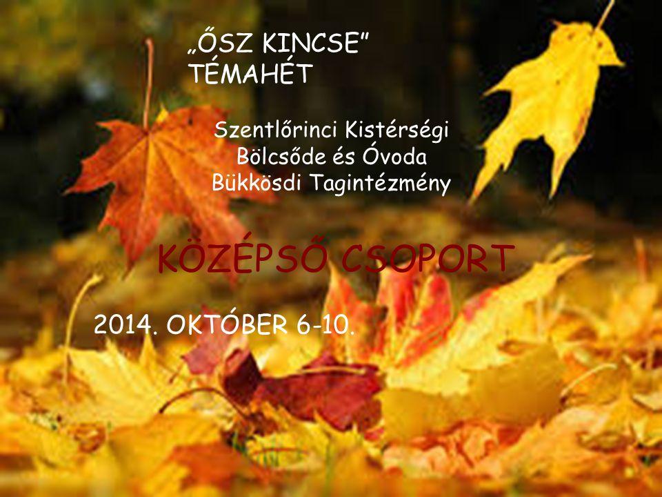 """KÖZÉPSŐ CSOPORT """"ŐSZ KINCSE TÉMAHÉT 2014. OKTÓBER 6-10."""