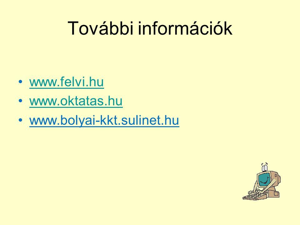 További információk www.felvi.hu www.oktatas.hu