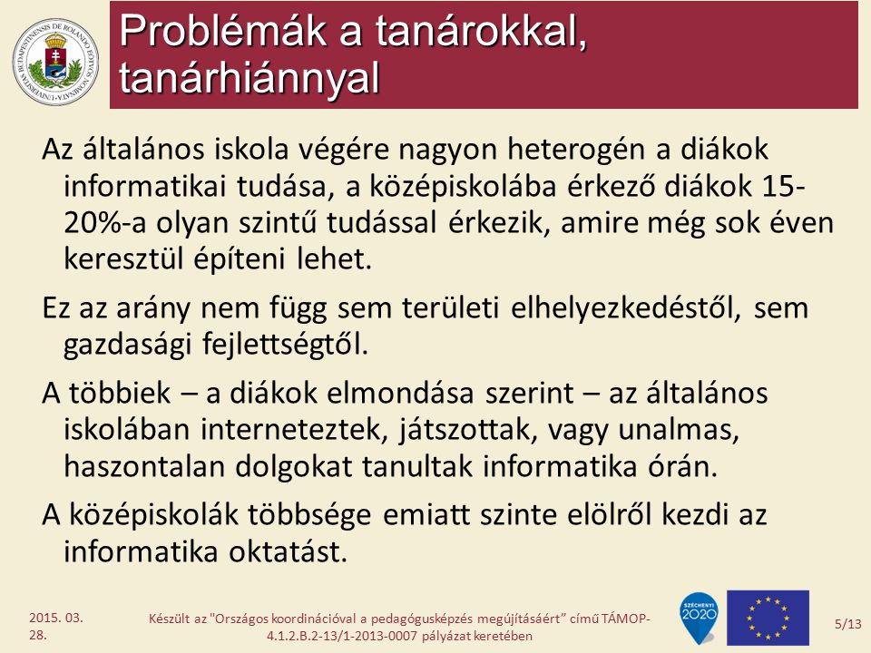 Problémák a tanárokkal, tanárhiánnyal