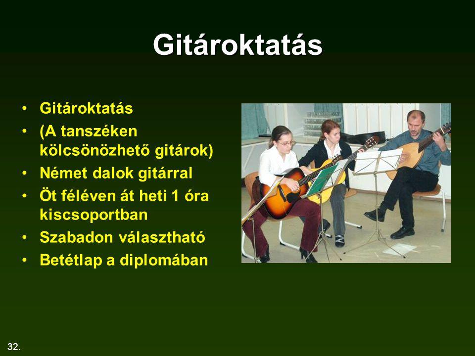 Gitároktatás Gitároktatás (A tanszéken kölcsönözhető gitárok)