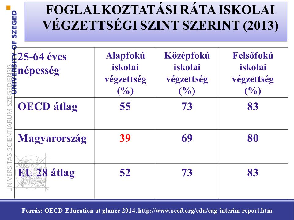 FOGLALKOZTATÁSI RÁTA ISKOLAI VÉGZETTSÉGI SZINT SZERINT (2013)