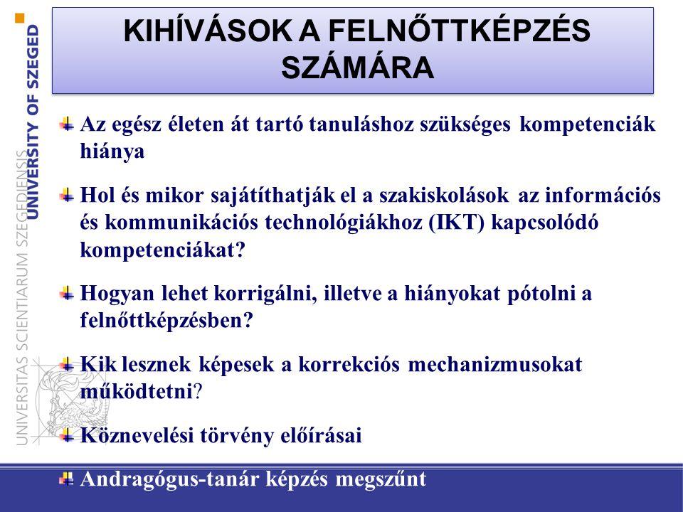KIHÍVÁSOK A FELNŐTTKÉPZÉS SZÁMÁRA