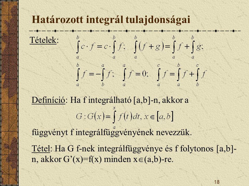 Határozott integrál tulajdonságai